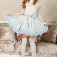 Sky Blue Nightingale Printed Bowknot Sweet Lolita Skirt