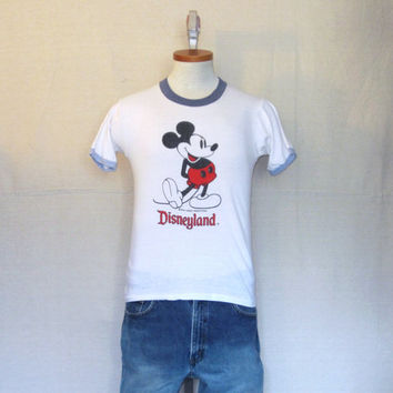Vintage Burnout 80s MICKEY MOUSE GRAPHIC White Disney Soft Thin Unisex Small Classic Ringer T-Shirt
