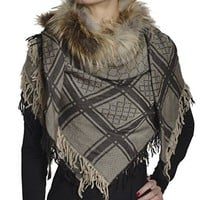 Gucci Women's Wool Scarf with Fur 254017 3G552 49x49