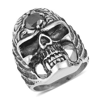 Simulated Black Diamond Black Oxidized Stainless Steel Gothic Skull Ring