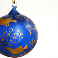 Glass Painting, Hand painted Decorative Hand Blown Glass Ball, Hanging Glass Ball, Glass Painting, Deep Blue and Gold Sun Catcher,