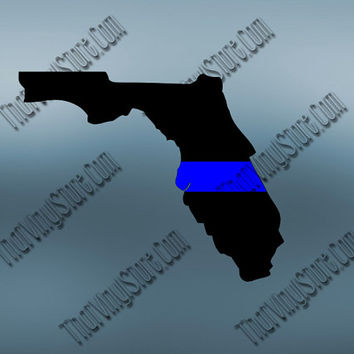Florida Back the Blue Flag Thin Blue Line Vinyl Decal | Yeti Cop Decal | Distressed American Flag | Blue Lives Matter | 411