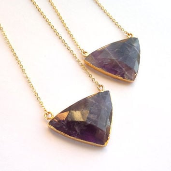 Triangle Stone Necklace Amethyst Necklace Geometric Necklace Purple Stone Jewelry Amethyst Jewelry Geometric Pendant Gold Edged Stone