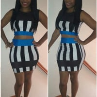 Striped Sleeveless Bodycon Cropped Top Mini Skirt Set