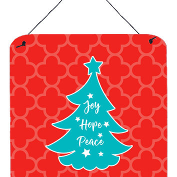 Christmas Tree Red Teal Wall or Door Hanging Prints BB6969DS66