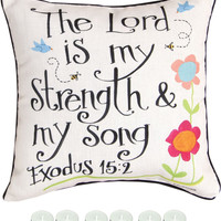 "Manual Woodworkers SLLSMS The Lord Is My Strength 18""x18"" Pillow with 6-Pack Tea Candles"