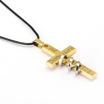 Death Note Ringed & Gold-Plated Cross Necklace 🏆 🚚💨