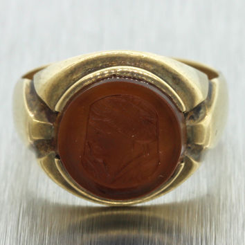 1880s Antique Victorian 10k Solid Yellow Gold Carnelian Intaglio Cameo Ring