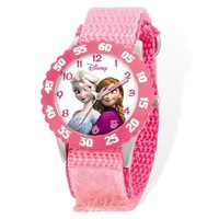 Disney Frozen Elsa/Anna Pink Velcro Time Teacher Watch