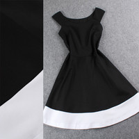 Black Boat Neck Sleeveless A -line White Hem Mini Dress
