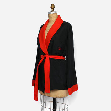 Vintage 80s DIOR Robe / 1980s Red & Black Belted Embroidered Logo jacket