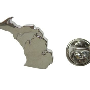 Michigan State Map Shape and Flag Design Lapel Pin