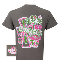 Girlie Girl Originals Strong & Courageous Cross Christian Bright T Shirt