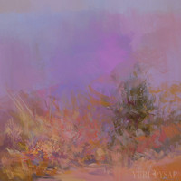 Impressionist Landscape Painting Pink - Abstract Painting Nature Modern Art  - Original Oil Painting by Yuri Pysar