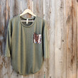 sequin pocket tunic top , olive