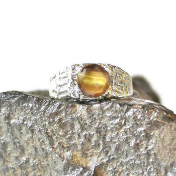 Tigers Eye Ring, Mans Ring, Sterling Silver Nugget Ring, Mens Ring