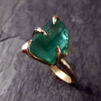 Raw Green Tourmaline Gold Ring Rough Uncut Gemstone tourmaline recycled 14k stacking statement by Angeline