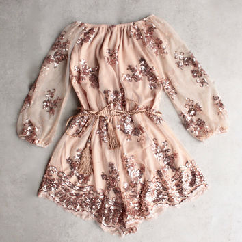 reverse - life of the party strapless sequin romper - rose gold