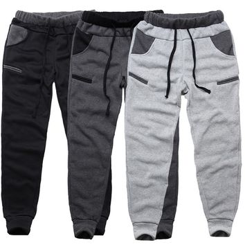 2018 Winter Warm Fleece Men Sweatpants Casual Elastic Waist Pockets Hip-hop Trousers Men Streetwear Workout Joggers Track Pants
