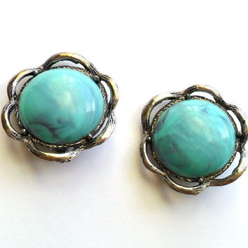 Vintage Turquoise Cabochon Earrings Clip On Style Southwestern 1980s Plastic Large Chunky Bold Silver Tone