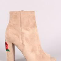 Wild Diva Lounge Peep Toe Floral Embroidery Chunky Heeled Booties