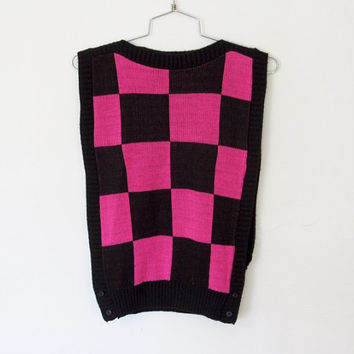 Vintage 1980s New Wave / Punk Sweater Vest / Black and Pink Knit Bib Top