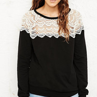 Pins & Needles Crochet Sweatshirt - Urban Outfitters
