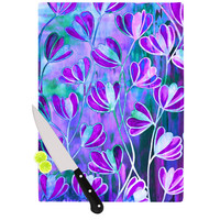 "Ebi Emporium ""Efflorescence - Lavender Blue"" Teal Purple Cutting Board"