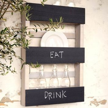 Three-Tiered Chalkboard Display Rack
