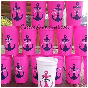 Personalized anchor tumbler cups , bachelorette party cups