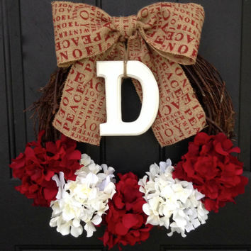 Christmas Monogram Hydrangea Wreath - Red and White Wreath - Initial Wreath - Personalize Christmas Decoration - Burlap Bow - Christmas Gift