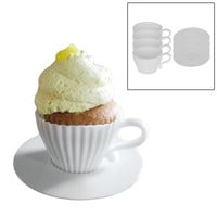 Evelots 4 Silicone Cup Afternoon Tea Cupcakes Set, Baking Supplies, White