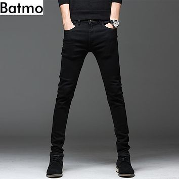 Batmo 2018 new arrival high quality casual slim elastic black jeans men ,men's pencil pants ,skinny jeans men 2108