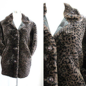 Leopard Pattern Coat Reversible Faux Fur Winter Coat Animal Pattern Jacket Vintage Size S #O132A