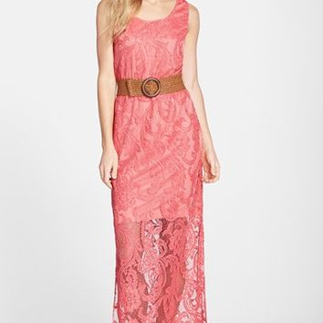 Women's Eliza J Belted Lace Maxi Dress
