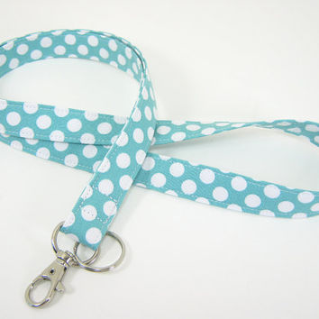 Fabric Lanyard - ID Badge and Key Ring - Aqua  and White Polka Dots with Optional Breakaway Clasp