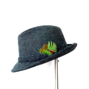 Pure Wool Stetson Fedora Dark Grey Wool Hat Mens Fedora 1980s Fedora Sz 7 3/8 Fall Accessories