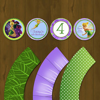 Tinker Bell Printable Cupcake Toppers with Wrappers - Tinkerbell Party Circles with Wrappers Purple and Green