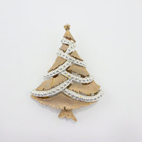 Gold and Silver Christmas Tree Pin Brooch Holiday Jewelry