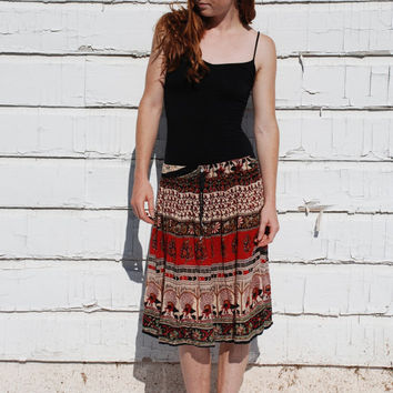 Retro India Cotton Gauze Tribal Print Hippie Festival Skirt