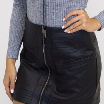 Black Faux Leather Detail Skirt