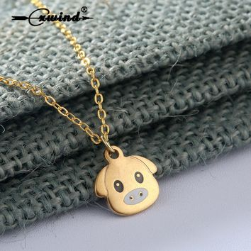 Cxwind Stainless Steel Charm Animal Necklace Lovely Pet Pig Necklaces for Women Bohemia Jewelry Pendant Ethnic Long Necklace