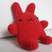 Kawaii Style Crocheted Red Bunny Plush by lamagique