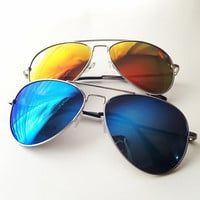 80s Retro Style Mirrored Aviator Sunglasses