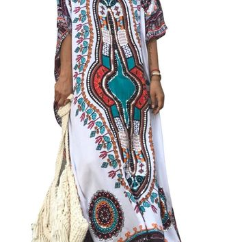 White Ethnic Print Cotton Kaftan Maxi Dress