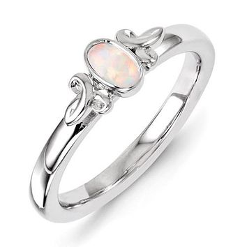 Sterling Silver Stackable Expressions Created Opal Oval Ring