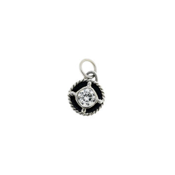 Kamon Sterling Silver And White Topaz April Charm