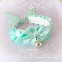 Kitten Pet Play Cat Collar Choker Necklace Mint Green  Bell Bow Kitty Cute Soft pastel goth Lolita Neko BDSM DDLG Adult Baby