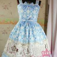 Dream of Lolita Alice and Black Cat Print JSK Dress $59.95-One Piece Dress - Dresses & JSKs - My Lolita Dress
