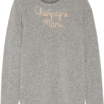 Lingua Franca - Champagne Mami embroidered cashmere sweater